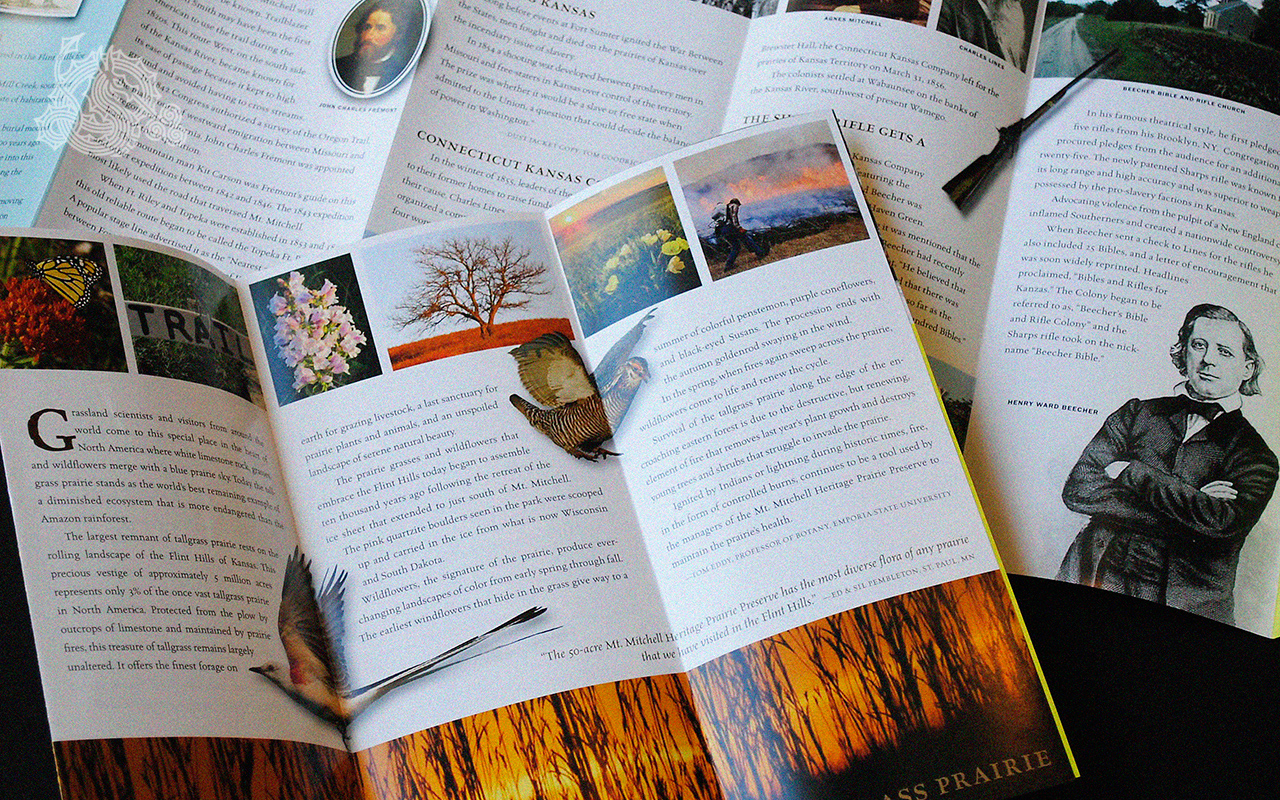 Mt. Mitchell Heritage Prairie, multi-panel brochures, rack brochures, historical sites, preservation