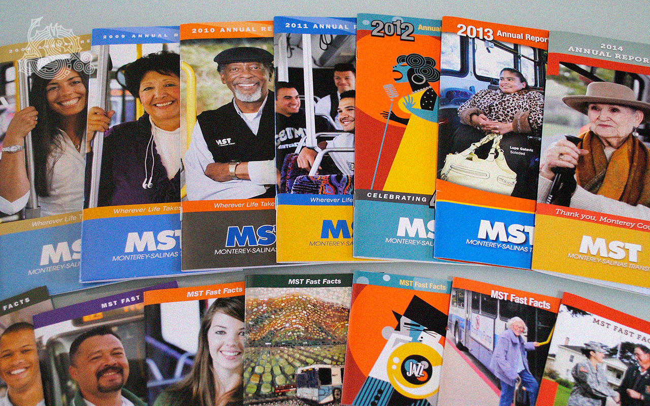 Monterey-Salinas Transit, MST, annual reports, fast facts, rack brochures, bound-in inserts
