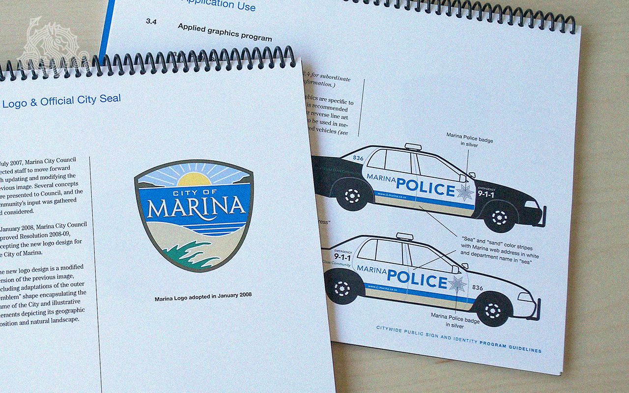 City of Marina, logo design, city seals, identity guidelines, applied graphics