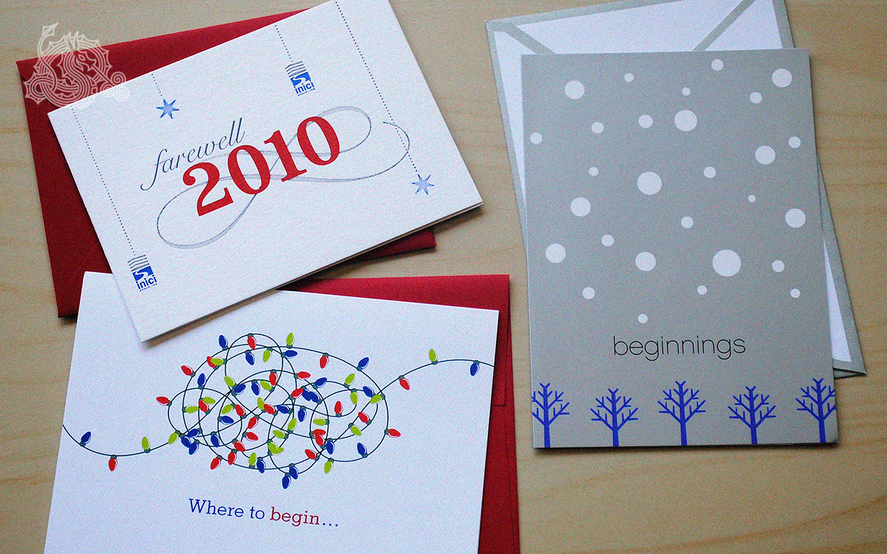 inici group, holiday cards, letterpress cards, branding