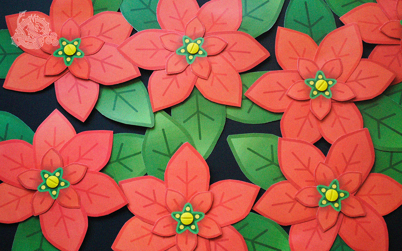 Poinsettias, die cut cards, holiday cards, post binding