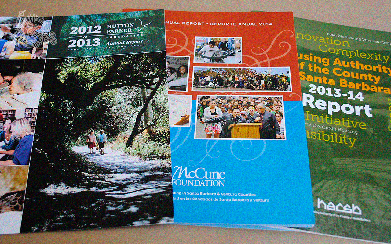 Hutton Parker Foundation, McCune Foundation, HACSB, annual reports, reporte anual, multipage booklets