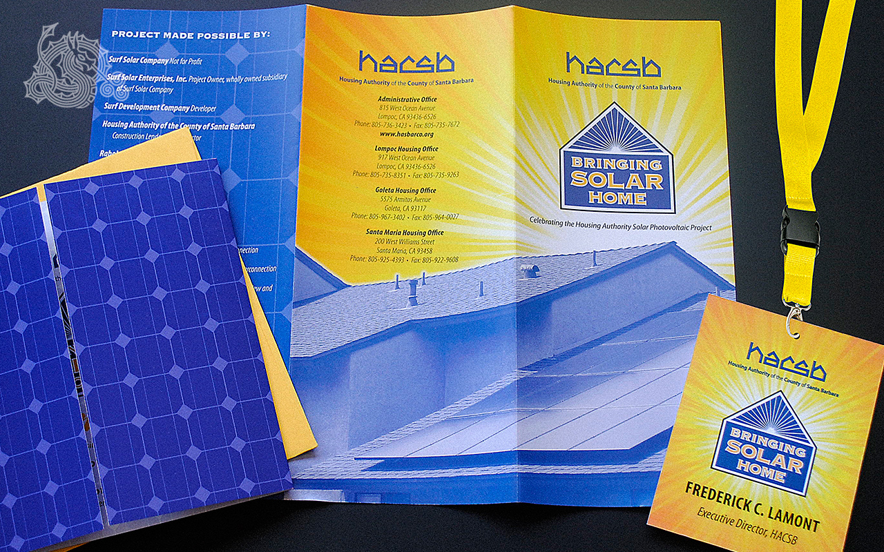 Housing Authority of the City of Santa Barbara, HACSB, solar power, invitation design, brochure design, access passes, branding